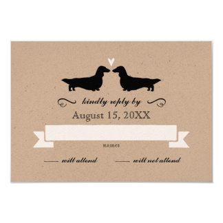 Dachshund Silhouettes (Long Haired) Wedding RSVP Card