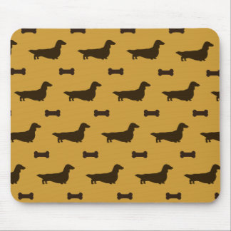 Dachshund Silhouettes Pattern (Long Hair Dachsies) Mouse Pad