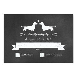 Dachshund Silhouettes Wedding RSVP Card