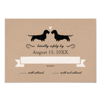 Dachshund Silhouettes (Wire Haired) Wedding RSVP Card
