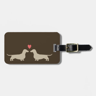 Dachshund Silhouettes with Heart and Custom Text Luggage Tags