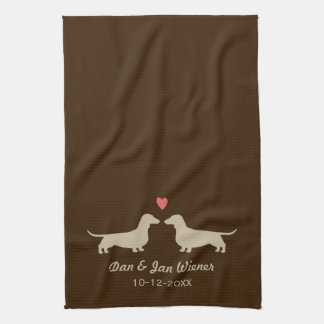 Dachshund Silhouettes with Heart and Text Hand Towel