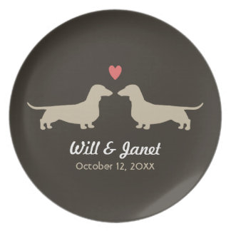 Dachshund Silhouettes with Heart and Text Melamine Plate