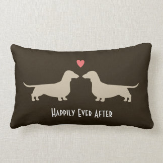 Dachshund Silhouettes with Heart and Text Throw Pillow