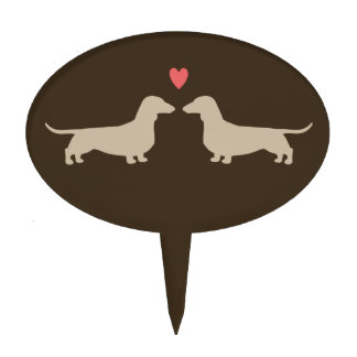 Dachshund Silhouettes with Heart Cake Topper