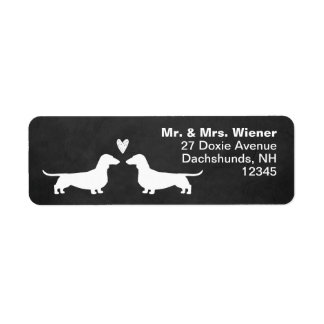 Dachshund Silhouettes with Heart Return Address Label