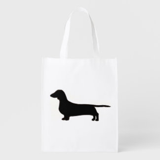dachshund silo black.png reusable grocery bags