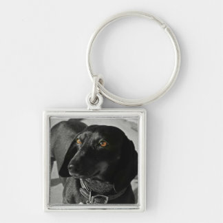 Dachshund Silver-Colored Square Keychain