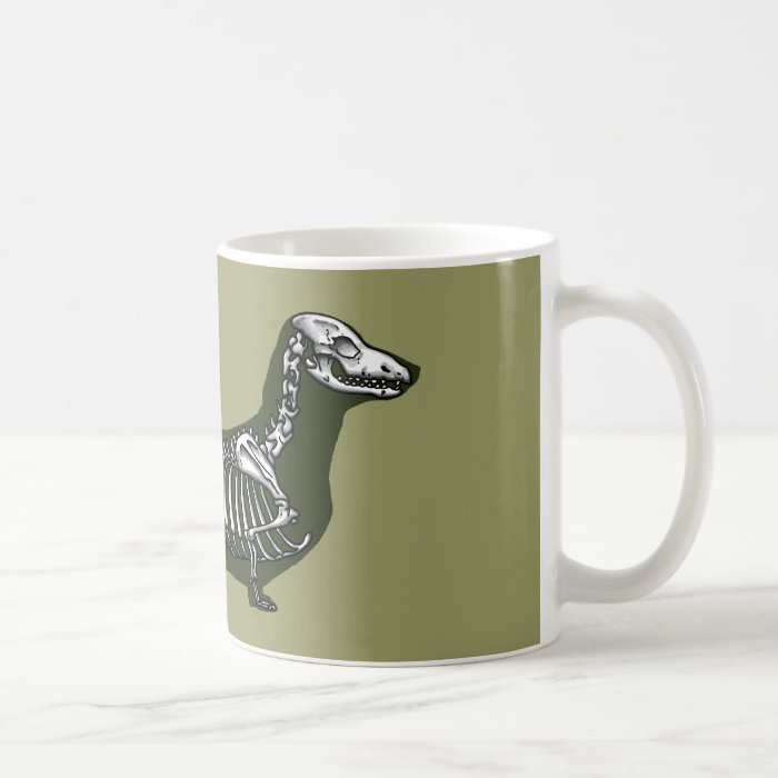 dachshund skeleton coffee mug