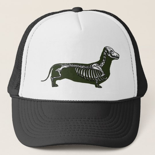 dachshund skeleton trucker hat