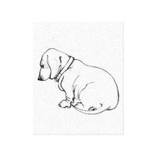 dachshund sketch on stretched canvas canvas print