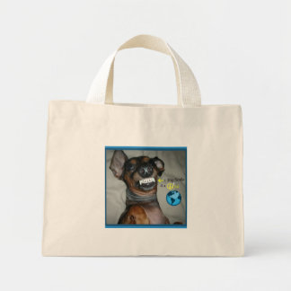 Dachshund Smile for a peaceful world Mini Tote Bag