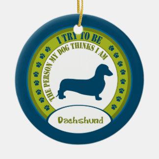Dachshund [smooth] ceramic ornament