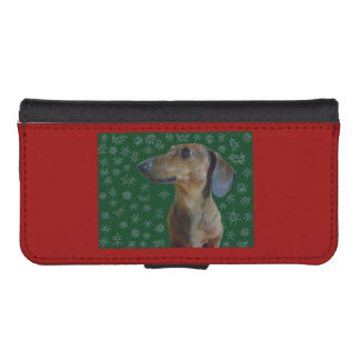 Dachshund Snow Wallet Phone Case For iPhone SE/5/5s