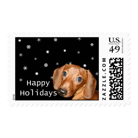 dachshund snowing holiday stamp