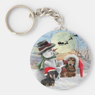Dachshund Snowman Gifts Keychain