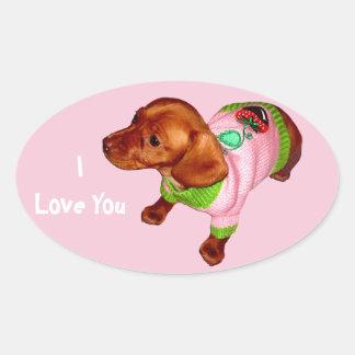 Dachshund Stickers of Cute Little Mini Doxie Puppy