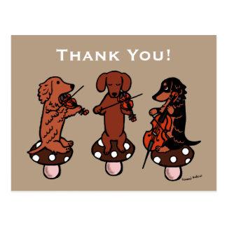 Dachshund String Trio Musicians Thank You Postcard
