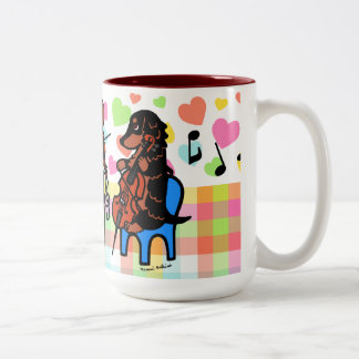 Dachshund String Trio Two-Tone Coffee Mug