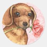Dachshund subió tarjeta del día de San Valentín Pegatina Redonda