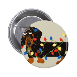 Dachshund Tangled In Christmas Lights Blk/Tan 2 Inch Round Button