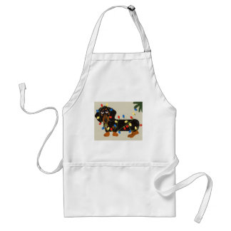 Dachshund Tangled In Christmas Lights Blk/Tan Adult Apron