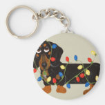 Dachshund Tangled In Christmas Lights Blk/Tan Basic Round Button Keychain