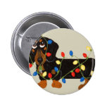 Dachshund Tangled In Christmas Lights Blk/Tan Buttons