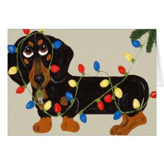 Dachshund Tangled In Christmas Lights Blk/Tan Card