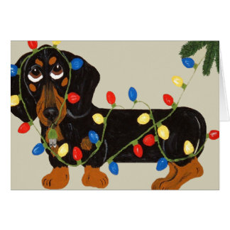 Dachshund Tangled In Christmas Lights Blk/Tan Greeting Cards