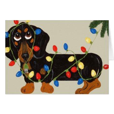 Christmas Themed Dachshund Tangled In Christmas Lights Blk/Tan Card