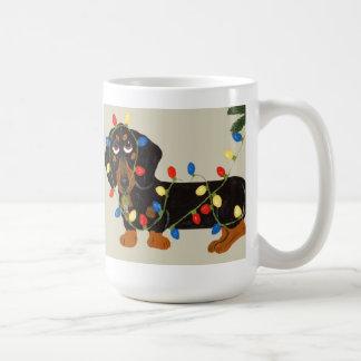 Dachshund Tangled In Christmas Lights Blk/Tan Coffee Mug