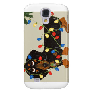 Dachshund Tangled In Christmas Lights Blk/Tan Galaxy S4 Case