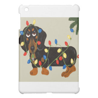 Dachshund Tangled In Christmas Lights Blk/Tan iPad Mini Cases