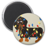 Dachshund Tangled In Christmas Lights Blk/Tan Refrigerator Magnet