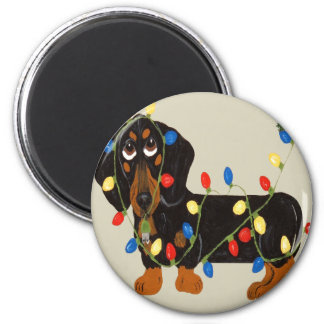 Dachshund Tangled In Christmas Lights Blk/Tan Magnet