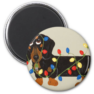 Dachshund Tangled In Christmas Lights Blk/Tan 2 Inch Round Magnet