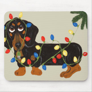 Dachshund Tangled In Christmas Lights Blk/Tan Mousepads