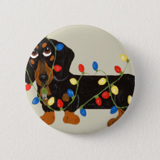 Dachshund Tangled In Christmas Lights Blk/Tan Pinback Button