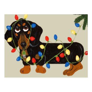 Christmas Themed Dachshund Tangled In Christmas Lights Blk/Tan Postcard