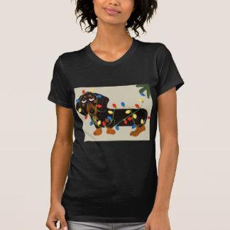 Dachshund Tangled In Christmas Lights Blk/Tan T-Shirt