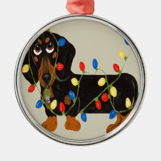 Dachshund Tangled In Christmas Lights Blk/TanOrnam Metal Ornament
