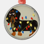 Dachshund Tangled In Christmas Lights Blk/TanOrnam Round Metal Christmas Ornament