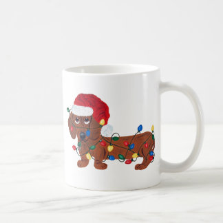 Dachshund Tangled In Christmas Lights (Red) Classic White Coffee Mug