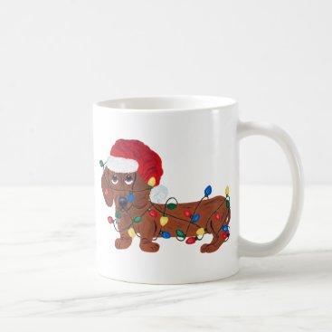 Christmas Themed Dachshund Tangled In Christmas Lights (Red) Coffee Mug