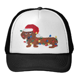 Dachshund Tangled In Christmas Lights (Red) Trucker Hat