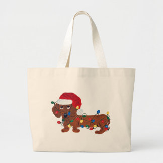 Dachshund Tangled In Christmas Lights (Red) Large Tote Bag