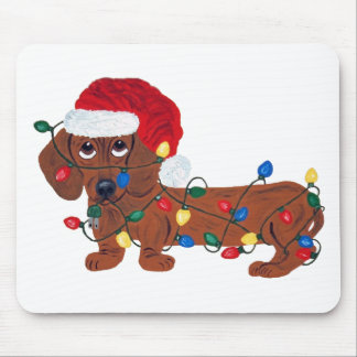 Dachshund Tangled In Christmas Lights (Red) Mouse Pads