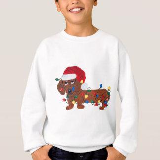 Dachshund Tangled In Christmas Lights (Red) Sweatshirt