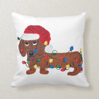 Dachshund Tangled In Christmas Lights (Red) Throw Pillows